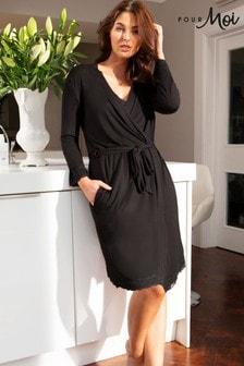 Pour Moi Black Sofa Loves Lace Jersey Wrap Gown