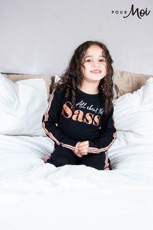 Pour Moi Black Mini Moi Jersey Cotton Slogan Pyjama Set (All About The Sass)