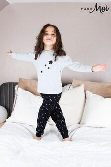 Pour Moi Black Mini Moi Star Print Jersey Jogger Pyjama Set