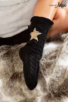 Pour Moi Cosy Cable Knit Sequin Slipper Sock