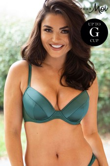 Pour Moi Green Satin Luxe Plunge Padded Bra E+