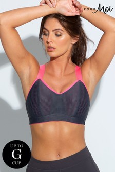 Pour Moi Grey Pink Energy Underwired Lightly Padded Convertible Sports Bra E+