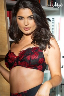Pour Moi Black and Red Decadence Underwired Bra H+
