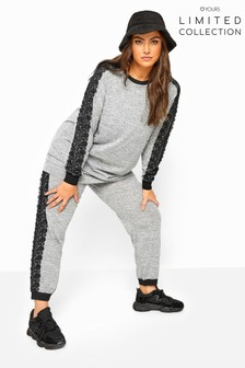 Yours Grey Limited Collection Marl Lace Tape Knitted Joggers