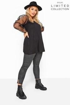 Yours Black Curve Foil Coated Split Hem Tapered Trousers