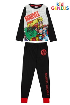 Kid Genius Black Marvel Long Sleeve Character Pj Set
