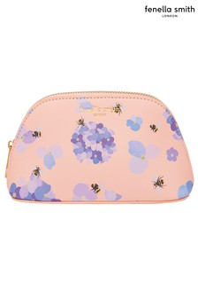 Fenella Smith Bee & Hydrangea Vegan Leather Oyster Cosmetic Case