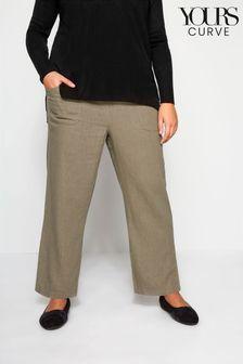 Yours Khaki Curve Front Wide Leg Trouser