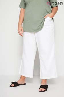 Yours White Curve Front Wide Leg Trouser