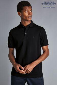 Charles Tyrwhitt Black Short Sleeve Pique Polo Shirt