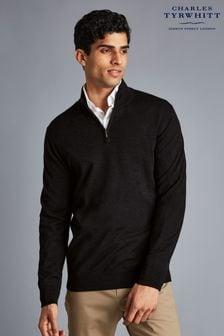 Charles Tyrwhitt Black Pure Merino Zip Neck Jumper