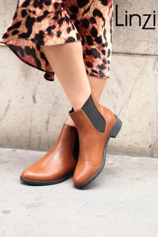 Linzi Brown Willow PU Classic Chelsea Boot