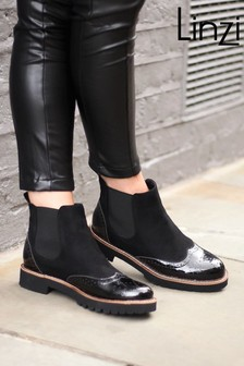 Linzi Black Cleo Suede & Patent Brogue Style Chelsea Boot