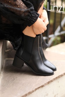 Linzi Black Kay Pull On Chelsea Boot With Stacked Block Heel