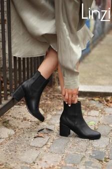 Linzi Coal Dua Block Heel Pull On Chelsea Boot