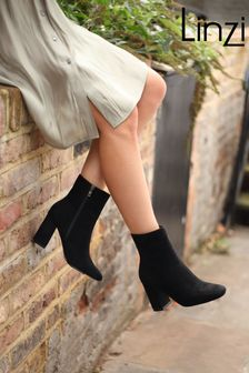 Linzi Black Scout Suede Square Toe Heeled Boot With Side Zip
