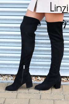 Linzi Suede Block Heeled Over The Knee Boot with Tie Up Back