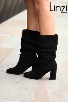 Linzi Suede Block Heel Boot With Ruching Detail