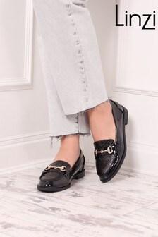 Linzi Black Parker Weave And Trim Detail Slip On Loafer
