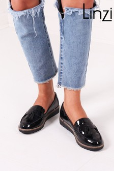 Linzi Black Vicky Classic Slip On Loafer With Tassel Detail