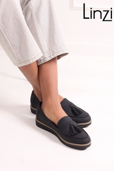 Linzi Coal Vicky Classic Slip On Loafer With Tassel Detail