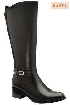 Ravel Black Leather Knee High Boots