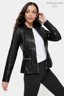 Urban Code Black Collarless Leather Jacket