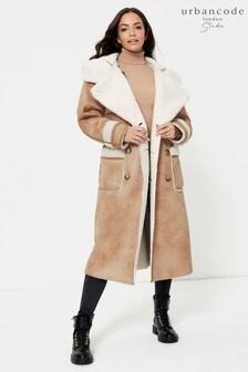 Urban Code Brown Studio Shearling Longline Reversible Coat