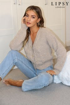 Lipsy Neutral Crop Cable Style Cardigan