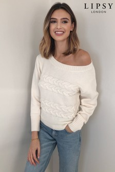 Lipsy Cream Cable Slash Neck Knitted Jumper