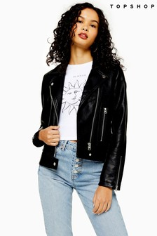 Topshop Faux Leather Biker Jacket