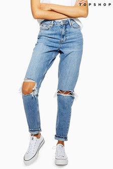 Topshop Regular Leg Rip Knee Mom Jeans