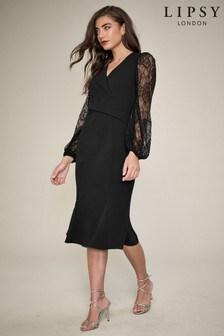 Lipsy Black Lace Blouson Sleeve Bodycon Dress