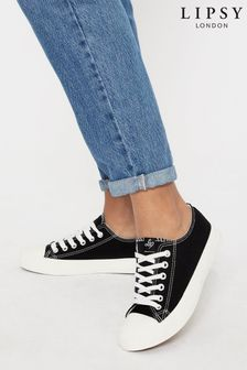 Lipsy Black Regular Fit Low Top Canvas Trainer