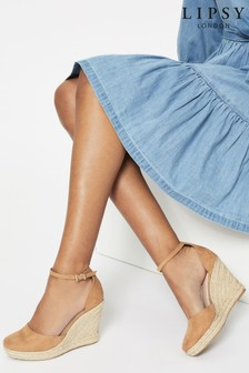 Lipsy Brown Closed Toe Espadrille Wedge