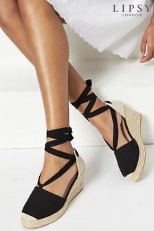 Lipsy Black Regular Fit Closed Toe Ankle Tie Wedge