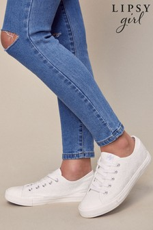 Lipsy White Low Top Lace Up Trainer (Older)