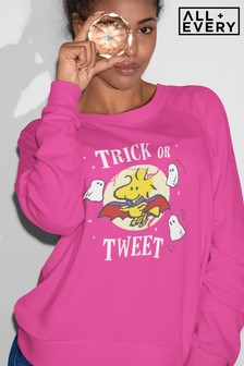 All + Every Hot Pink Peanuts Halloween Trick Or Tweet Woodstock Women's Sweatshirt