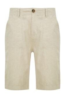 Threadbare Stone Linen Cotton Chino Shorts