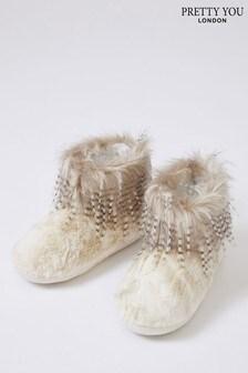 Pretty You London Brandi Champagne Faux Fur Slipper Boots