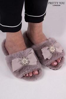 Pretty You London Nude Anya- Faux Fur Slider Slippers