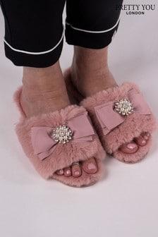 Pretty You London Pink Anya- Faux Fur Slider Slippers