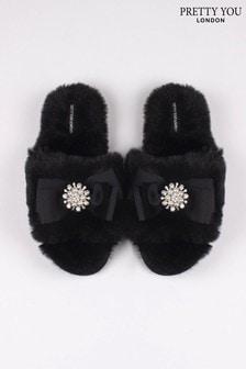 Pretty You London Black Anya- Faux Fur Slider Slippers