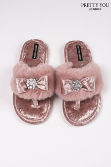 Pretty You London Pink Amelie Faux Fur Toe Post Slippers With Diamante Detail