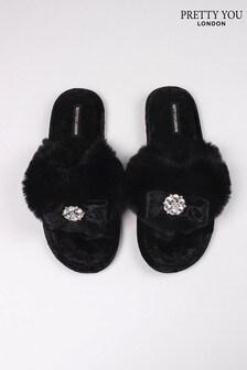 Pretty You London Black Amelie Faux Fur Toe Post Slippers With Diamanté Detail