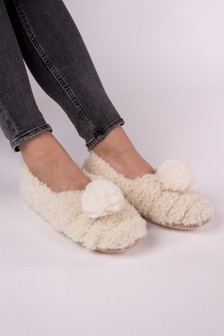 Pretty You London Cream Dora Pom Pom Slippers