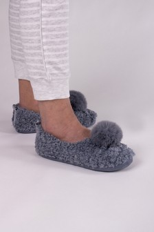 Pretty You London Grey Dora Pom Pom Slippers