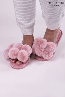Pretty You London Pink Dolly Pom Pom Slider Slippers