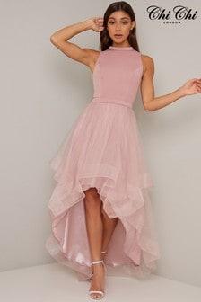 Chi Chi London Pink Dip Hem Mesh Dress