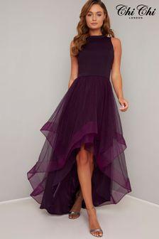 Chi Chi London Purple Dip Hem Mesh Dress